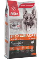 Blitz Sensitive Adult All Breeds Turkey & Barley Блитц для собак всех пород индейка ячмень, 15 кг
