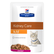 Hill's PD Feline k/d Kidney Care Хиллс для кошек при хронической болезни почек с говядиной, пауч 85 г (3411LN)